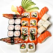.  Sushi Set - Different Types Of Maki Sushi And Nigiri Sushi.