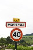 French Village Roadsign Of Meursault
