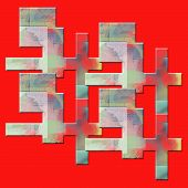 Colored Geometric Shapes On A Bright Red Background