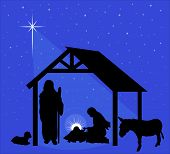 stock photo of donkey  - Illustration of the traditional Christmas nativity scene - JPG