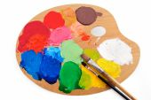 picture of paint palette  - Paintbrushes on the palette with bright paints - JPG
