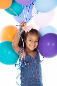 picture of helium  - Adorable cute african child with afro hair wearing a denim dress - JPG