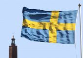 Stockholms city hall 1 and a flag