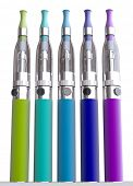 3D rendering of a group of colorful e-cigarettes