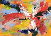 Abstract painting background with expressive bright brush strokes