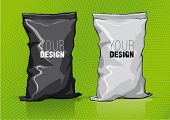 Black and white snack package for new design. Sketch style