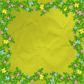 Grunge Vintage Multicoloured Background With Floral Ornament