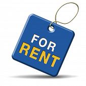 For rent sign, renting a house apartment or other real estate banner. Home room or flat to let icon.