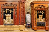 JERUSALEM - AUGUST 21: Two wooden cabinets with Torah scrolls and prayer in Cave Synagogue which is