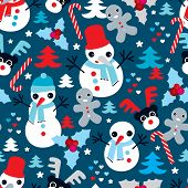 Seamless snow man ginger bread man and reindeer christmas illustration background pattern in vector