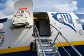 MAASTRICHT, NETHERLANDS - SEPTEMBER 8: Boarding stairs to Ryanair aircraft in Maastricht airport, Ne