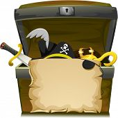 Illustration of Treasure Chest with an Empty Scroll, a Scimitar, a Pirate Hat, a Buckle, and a Hook