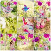 girl celebrating birthday in park. collage