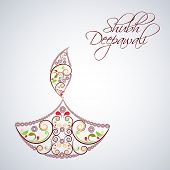 Indian festival of lights, Shubh Deepawali (Happy Deepawali) background with illustration floral dec