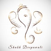 Illustration of Hindu mythology Lord Ganesha on abstract grey background for Indian festival of lights Shubh Deepawali (Happy Deepawali).