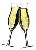Two glasses of champagne with white background