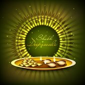 Indian festival of lights, Shubh Deepawali (Happy Deepawali) greeting card with illuminated oil lit