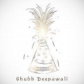 Indian festival of lights, Shubh Deepawali (Happy Deepawali) background with firework on abstract grey background.