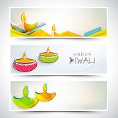 Creative website header or banner set for India festival of lights, Happy Diwali.