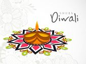 stock photo of lakshmi  - Beautiful Happy Diwali greeting card or background with illuminated oil lit lamp on colorful floral decorated background - JPG