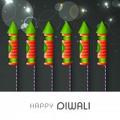 Indian festival of lights, Shubh Diwali (Happy Diwali) greeting card with fireworks in night background.