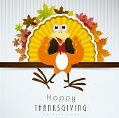 stock photo of happy thanksgiving  - Beautiful Happy Thanksgiving Day background with cute happy cartoon of turkey bird and colorful maple leafs on grey background - JPG