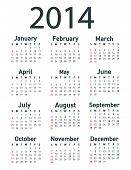 picture of august calendar  - 2014 calendar vector illustration on white background - JPG
