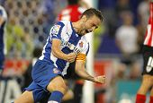 BARCELONA - SEP, 23: Sergio Garcia of RCD Espanyol celebrating goal during a Spanish League match ag