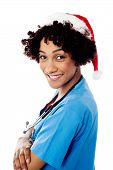 Lady Doctor With Santa Cap