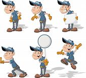 Cartoon worker with blue uniform and hat