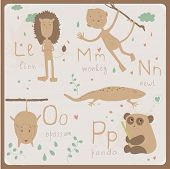 Cute zoo alphabet in vector . L, m, n, o, p letters.