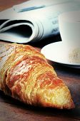 Breakfast With Fresh Croissant And Coffee