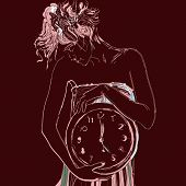 Conceptual portrait of girl in bed with big clock. Vector illustration.