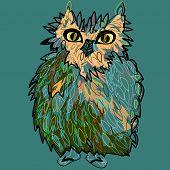 Owl in flip-flops, cartoon drawing, cute illustration for children, vector illustration for t-shirts