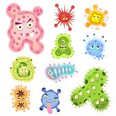 picture of microorganisms  - bacteria and virus cartoon - JPG