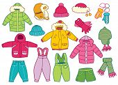 image of outerwear  - collection of winter children - JPG