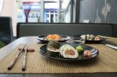 stock photo of sushi  - Sushi in sushi bar - JPG
