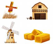 stock photo of scarecrow  - Illustration of the barn houses - JPG