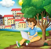 Illustration of a young boy using the laptop under the tree at the riverbank