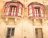 Malta, Mdina Traditional beautiful decorative balcony close-up