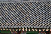 Detail Of Tiled Roof In Gyeongbokgung In Seoul, Korea