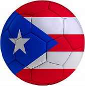 Football Ball With Puerto Rican Flag
