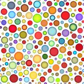 Seamless Round Colored Bubble Pattern On White