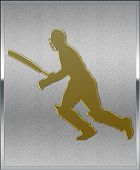 Gold On Silver Cricket Batsman Running Sport Emblem