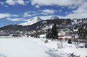 Amazing Peaceful Shot Of Swiss Landscape City Saint Moritz With Mountains, Train, Snow