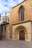 Valencia Romanesque Palau door of Cathedral in Spain with Miguelete