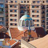 Valencia aerial skyline from el Miguelete mercado central of Spain