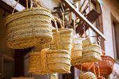 Valencia traditional esparto basket crafts near Mercado Central of Spain