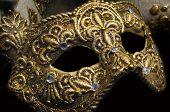 Venetian Artistic Golden Mask On Carnival In Venice