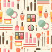 Seamless grunge background with cosmetics flat icons.
